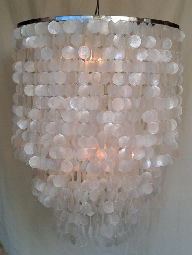Ceiling Lamp/Ceiling Lamp, Shell Lamp from hundreds of capiz, mother of pearl plates - Model Salome chrome - 100x80x80 cm