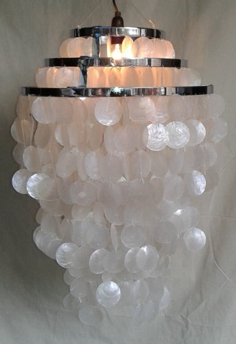 Ceiling Lamp/Ceiling Lamp, Shell Lamp made of hundreds of capiz, mother of pearl plates - Model Sangria chrome - 60x40x40 cm