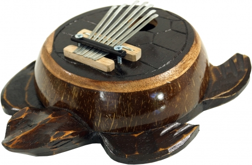 Wooden musical instrument, music percussion rhythm sound instrument, handmade, turtle carved from wood + coconut - Kalimba 4 - 7x22x17 cm