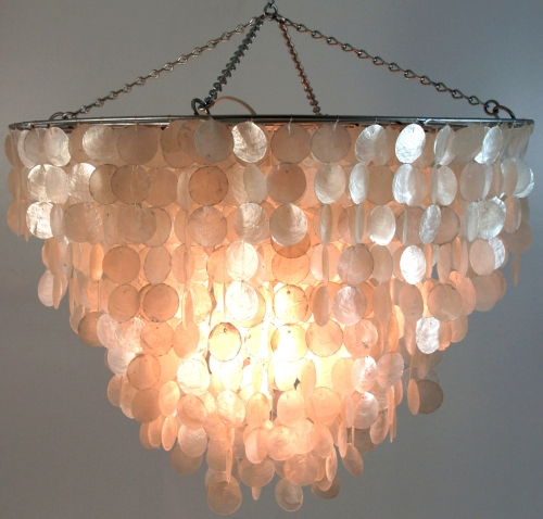 Ceiling Lamp/Ceiling Lamp, Shell Lamp made of hundreds of capiz, mother of pearl plates - Model Salomonia - 45x60x60 cm