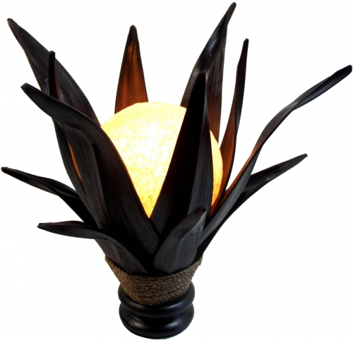 Palm leaf lotus table lamp/table lamp, handmade in Bali from natural material, palm wood - model Palmera 9 - 40x40x40 cm