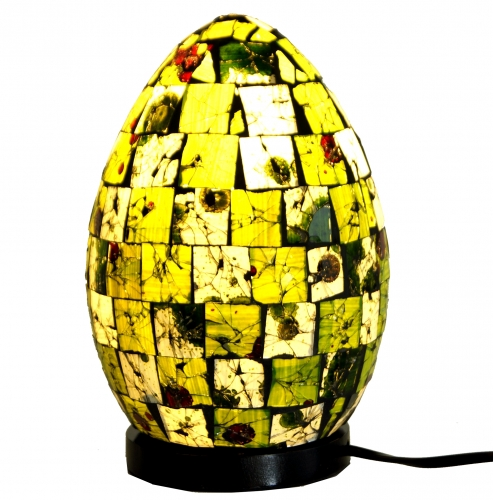 Table Lamp/Table Lamp Mojo.2, handmade in Bali, fiberglass with glass mosaic - 22x16x16 cm