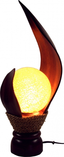 Palm leaf table lamp/table lamp, handmade in Bali from natural material, palm wood - Model Livia - 35x18x18 cm
