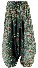 Kids pants, harem pants, Aladdin pants - dark green