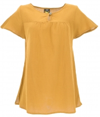 Boho blouse, blouse shirt, summer blouse - mustard