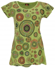 Short sleeve tunic, embroidered longtop mandala - lemon green
