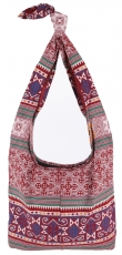 Sadhu Bag, Boho shoulder bag, Hippie bag - bordeaux red/white