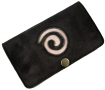 Tobacco bag, tobacco pouch, rotating leather bag Spiral - black