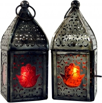 Oriental brass/glass lantern in Moroccan design, wind light
