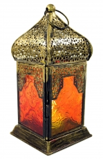Oriental brass/glass lantern in Moroccan design, lantern - red/ye..