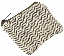 Ethno wallet, fabric wallet - brown