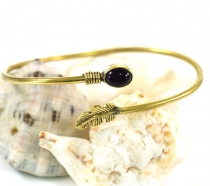 Bangle,Boho clasp with spring - Onyx