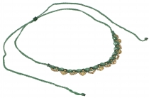 Makramee necklace with pretty pearls, Goaschmuck - green