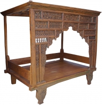Historical four-poster bed, teak day bed - model 1