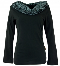 Hooded shirt, Boho shirt with printed shawl hood - black