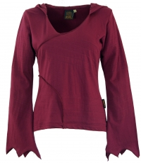 Elf Hoody, hooded sweater Flower of life - bordeaux red