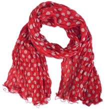 Cotton scarf with gold print - red