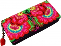 Embroidered ethno wallet Chiang Mai, Boho wallet - pink/blue