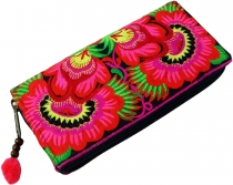Embroidered ethno wallet Chiang Mai, Boho wallet - pink/black