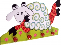 Colourful children`s wardrobe wall hook - Sheep 1