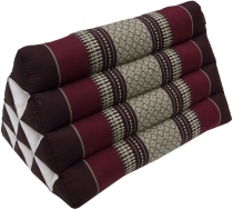 Triangle Thai cushion, triangle cushion, kapok - brown/wine red