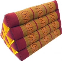 Triangle Thai cushion, triangle cushion, kapok - red/gold
