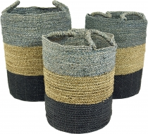 Tricoloured water hyacinth storage basket in 3 sizes - grey