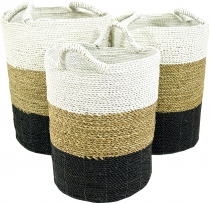 Tricoloured water hyacinth storage basket in 3 sizes - white