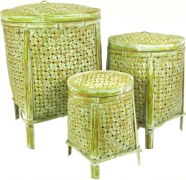 Exotic basket with lid in 3 sizes - lemon
