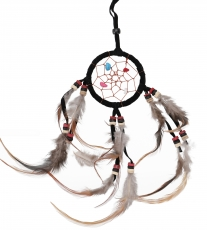 Mini dreamcatcher with semi-precious stones - black 6 cm