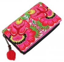 Ethno wallet Chiang Mai - pink/white
