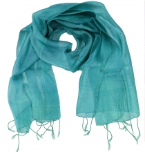Silk scarf,Thai scarf made of silk - turquoise