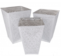 Wastepaper basket, Exotic embossed aluminium planter in three siz..
