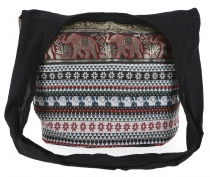 Sadhu Bag, shoulder bag, hippie bag Ikat - black/red/white patter..