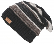 wool cap, patchwork knit cap with stripe pattern - grey/black