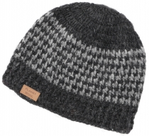 Wool cap, Nepal cap with stripe pattern - anthracite