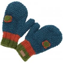 Gloves, knitted mittens with crocheted flower Nepal - petrol