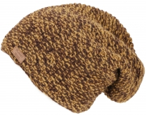 Woolly hat, melted knitted hat from Nepal - mustard yellow/chocol..
