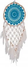 Dreamcatcher with crocheted lace - blue 22 cm