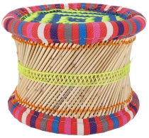 Colorful round reed wicker stool in bright colors - 22 cm