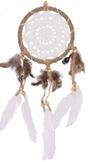 Dreamcatcher with crocheted lace - white 12 cm