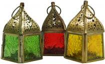 Glass lantern, lantern, tealight holder made of brass in 7 colour..
