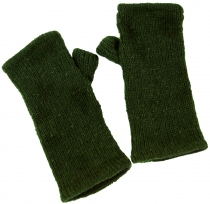 Hand cuffs, wool cuffs from Nepal - olive green