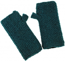 Hand cuffs, wool cuffs with pearl pattern from Nepal - petrol