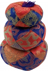 singing bowls cushion - red/blue
