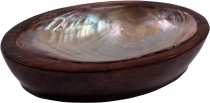 Coconut wood soap dish with mother of pearl