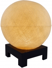 Ball table lamp with MDF stand made of cotton threads - cream
