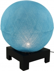 Ball table lamp with MDF stand made of cotton threads - light blu..
