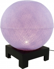 Ball table lamp with MDF stand made of cotton threads - purple