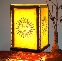 Lokta paper table lamp, square table lamp - sun yellow
